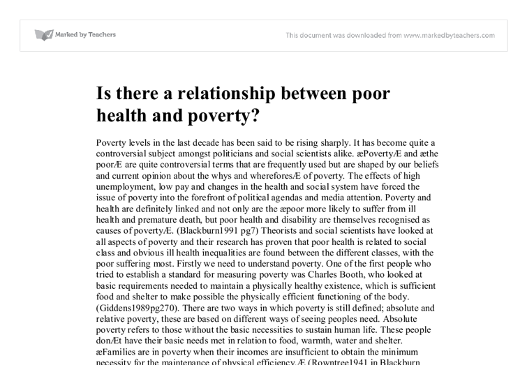 discuss the relationship between poverty and health
