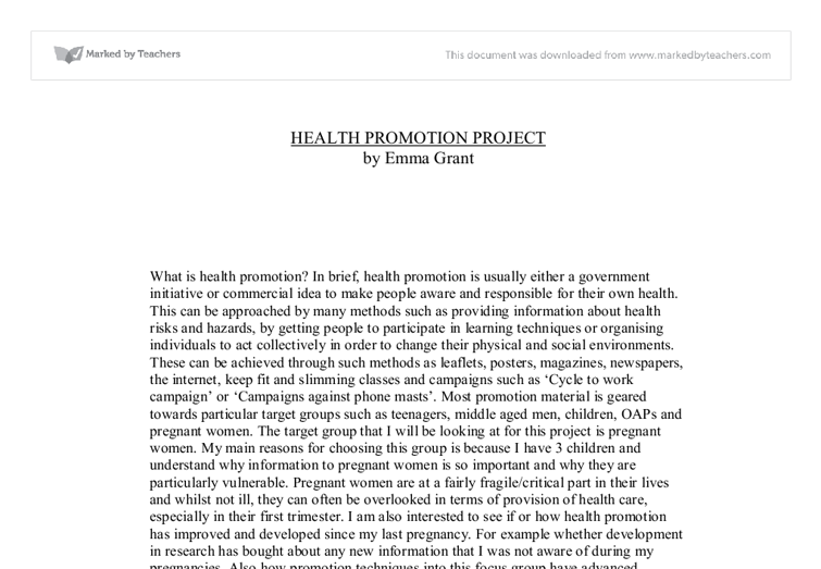Health Promotion Essay Examples