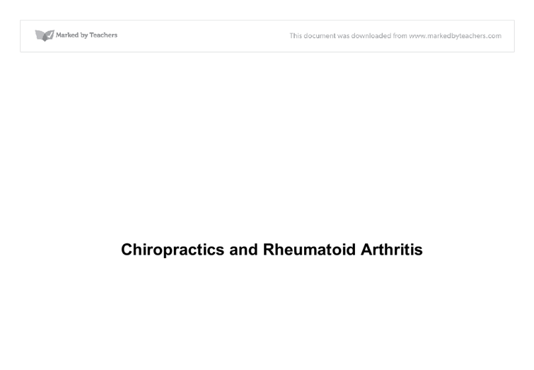 arthritis paper research rheumatoid Arthritis research & therapy201416:114  over 150 years ago, garrod coined  the term 'rheumatoid arthritis' (ra) to distinguish it from other.