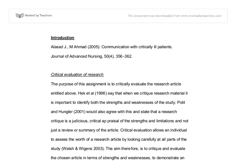 critical evaluation of nursing research university subjects  document image preview