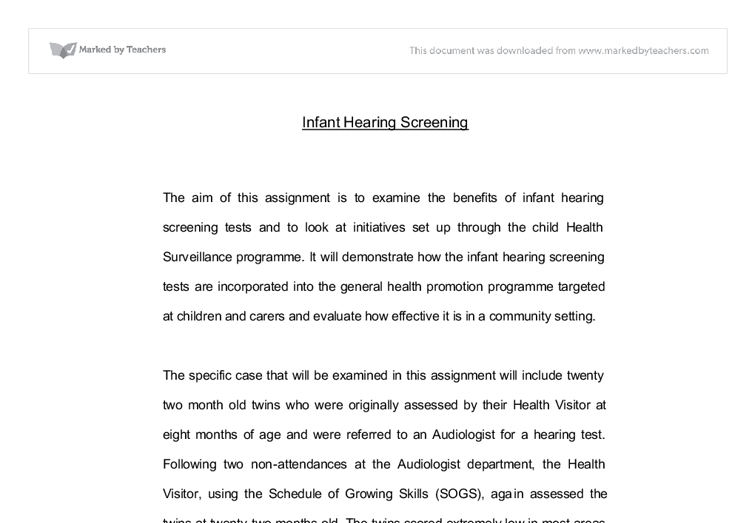 infant hearing screening reflection university subjects allied  document image preview