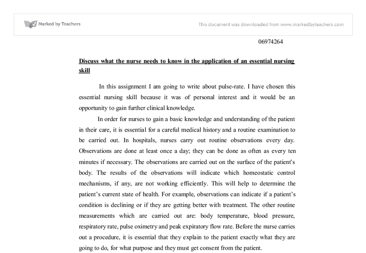 Nursing School Application Personal Essay