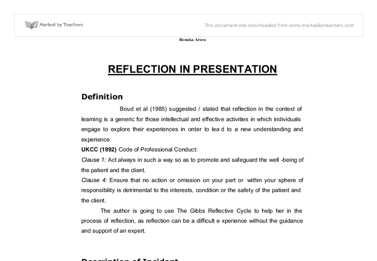 Reflective Writing - PowerPoint PPT Presentation