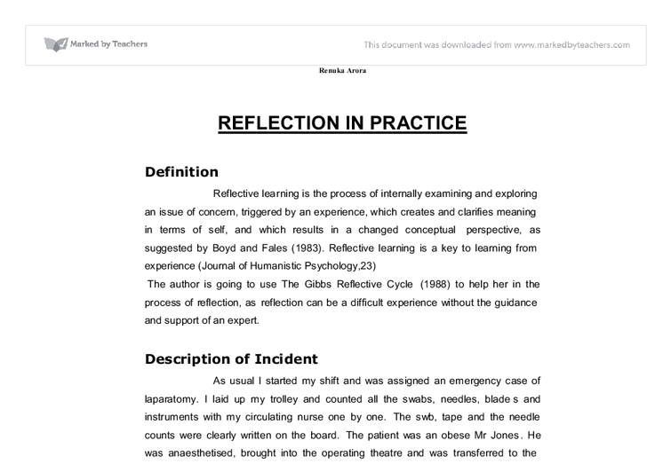 reflective practice in nursing essay