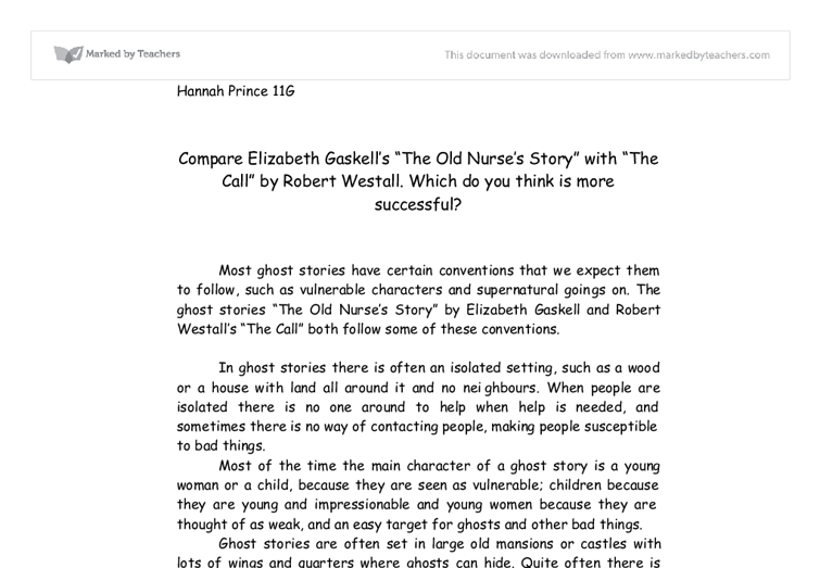 compare elizabeth gaskell s the old nurse s story  document image preview