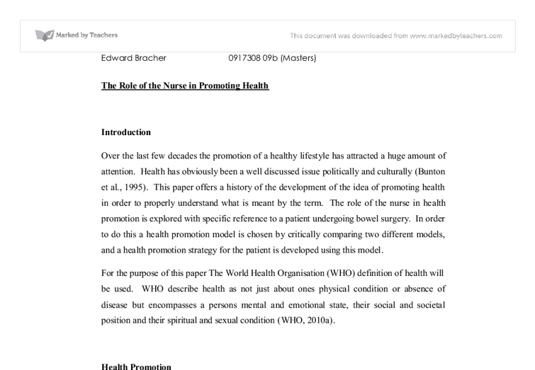 the role of the nurse in health promotion  university subjects  document image preview