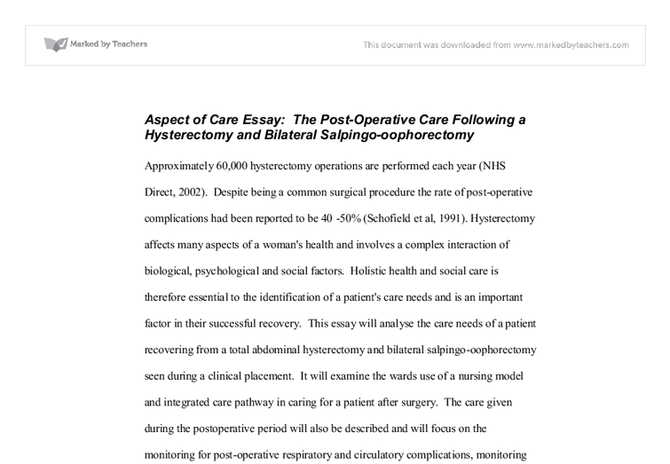 aspect of care essay the post operative care following a document image preview